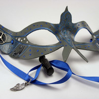 Stormy Night Messenger Bird Mask in Pearl Grey and blue with Steampunk gear accents and silver wing charm