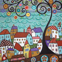 Village By The Sea Painting by Karla Gerard - Village By The Sea Fine Art Prints and Posters for Sale