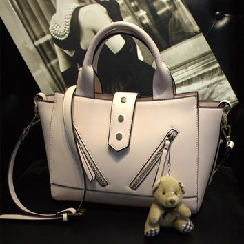 Korean One Shoulder Tote Bag with Bear Toy [6581506439]