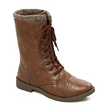 Sweater Trimmed Combat Boot
