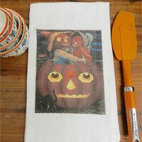 Vintage Pumpkin Towel Halloween Tea Towel Flour Sack Pumpkin Kitchen Decor Gift