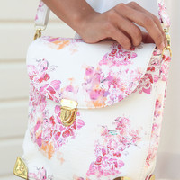 Floral Orchid Print Faux Leather Satchel with Gold Hardware