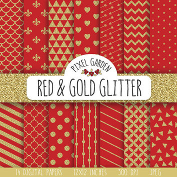 SALE - 30% OFF. Red and Gold Glitter Digital Paper Pack. Ruby Red Glitter Digital Paper. Polka Dot, Stripes, Crimson Scrapbooking Paper.