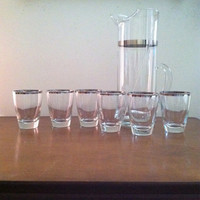 Dorothy thorpe silver rim cocktail set with roly poly glasses