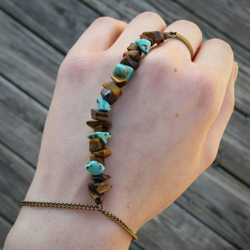 tiger's eye & turquoise chip hand chain // R90