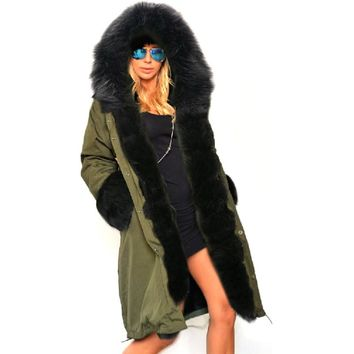 Luxury Women Overcoat 2017 Winter Warm Faux Fur Long Coat Ladies Hoodie Parkas Female Long Section Jacket with Detachable collar