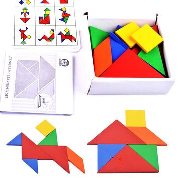 Free Shipping Educational Wooden Toys 32Pcs Geometric Shape Jigsaw Puzzle Clever Board Puzzles Toy Children's Day Birthday Gift