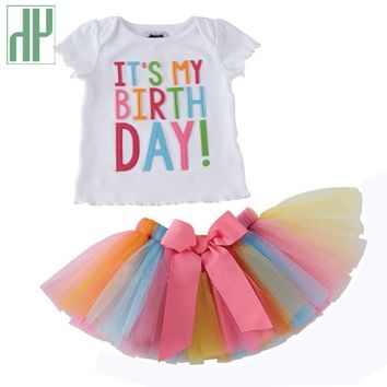 932097795ab05 Toddler girls summer clothing Set kids Unicorn Rainbow Tutu birt
