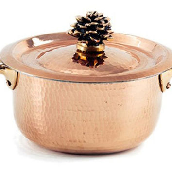 Mini Copper Saucepan w/ Flower Lid, Sauce Pans