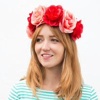 Coral and Orange Rose Crown. Red and Pink, Flower Crown, Rose Headband, Festival wear, Festival Fashion, Rose Headdress, Floral Crown, Coral