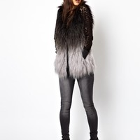 ASOS PETITE Exclusive Faux Fur Gilet In Dip Dye