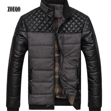 ZOEQO Dropshipping NEW winter spring Brand Men's Jackets and Coats PU Patchwork Designer Jackets Cotton Outerwear Fashion Men's