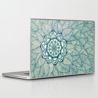 Emerald Green, Navy & Cream Floral & Leaf doodle Laptop & iPad Skin by micklyn