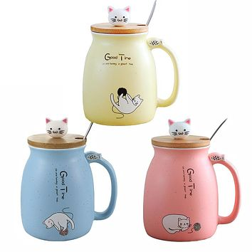Color Cat heat-resistant Mug cartoon with lid