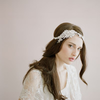 Heavy pearl and crystal flower headpiece - Style # 432 - Ready to Ship