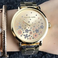 MK Michael Kors Fashion Women Men Quartz Movement Business Wristwatch Watch Full Golden I-Fushida-8899