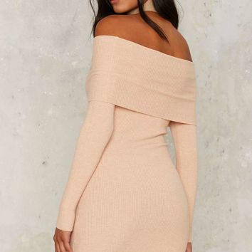 Nasty Gal For Her Pleasure Off-the-Shoulder Dress - Nude