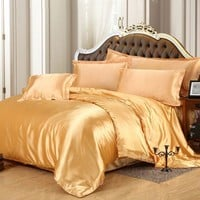hot sale classic imitate silk feel satin plain solid coffee black golden bedding set duvet cover set bedclothes bed sheet set