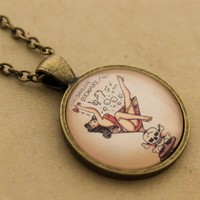 Sailor Jerry Necklace - Sale Rockabilly Martini Pin-up Girl Cabochon Pendant