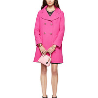 Kate Spade Jeweled Button Wool Coat Pink Swirl