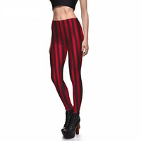 Red Stripe Printed Leggings