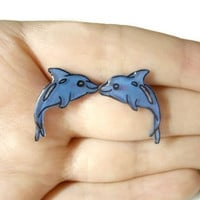 Dolphin Stud Earrings, Blue, Plastic, Silver Toned Hypoallergenic Posts, OOAK, Made To Order