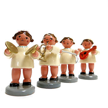Set of 4 Wooden Musical Angel Figures Hand Painted 1970s Vintage Chrismas Home Decor
