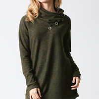 Olive Button Cowl Neck Tunic