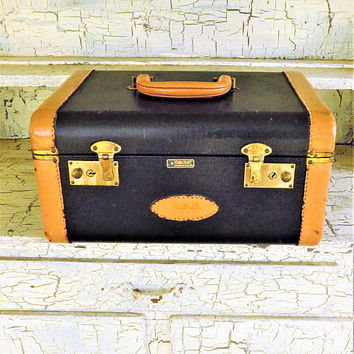 """Black Train Case with Camel Leather Trim, Starcraft 14"""", Vintage Overnight Luggage, Mirrored Case, Hard Travel Makeup Case"""