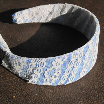 felt lined lace covered adult head band by CommodityOddity on Etsy
