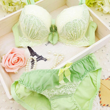 2017 new arrival Lolita embroidered lace deep V push up adjustment bra sets sexy lingerie for girl underwear set #8088836