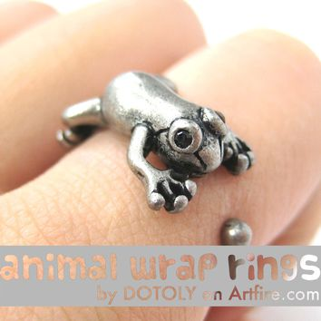 Leap Frog Realistic Animal Ring in Silver - Size 4 to 8.5 Available