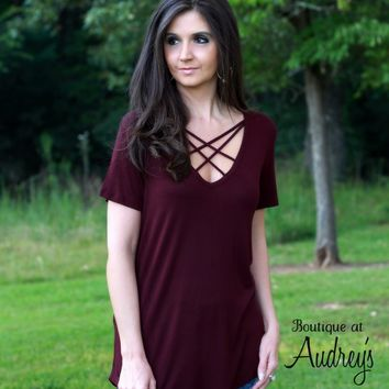 Soft Burgundy Knit Top with Caged Neckline