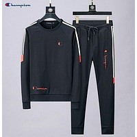 Champion Autumn And Winter Fashion New Embroidery Letter Women Men Long Sleeve Top And Pants Two Piece Suit Black