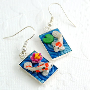 Koi Pond Earrings in Polymer Clay Filigree by StarlessClay on Etsy