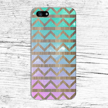 Pastel Cosmic x Chevron Wood Design Phone Case for iPhone 6 6 Plus iPhone 5 5s 5c iPhone 4 4s Samsung Galaxy s5 s4 & s3 and Note 4 3 2