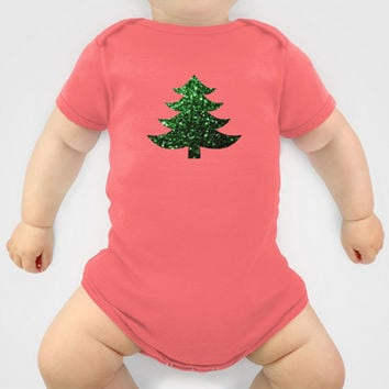 Christmas tree green sparkles Baby Clothes by PLdesign