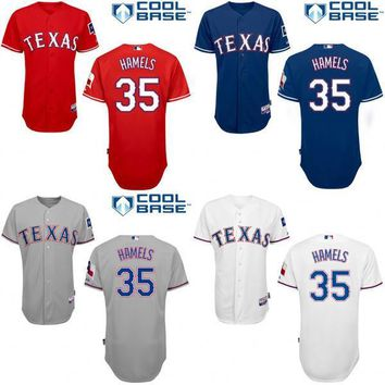 Texas Rangers #35 Cole Hamels Authentic Baseball Jerseys Embroidery stitched onfield Cool Base Home Color Top Quality size S-4XL