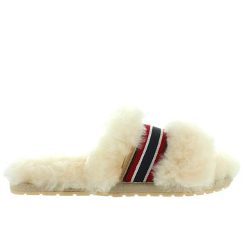 EMU Wrenlette - Natural Furry Striped Ribbon Slide Slipper