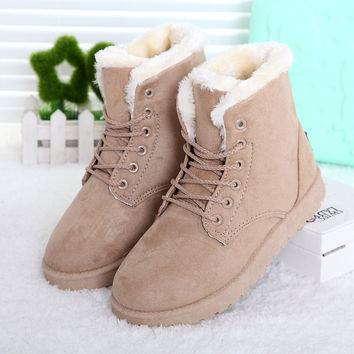 Lace Up Fur Ankle Boots