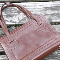 Chocolate Brown Purse Vintage Handbag 1960s Mid Century Medium Size