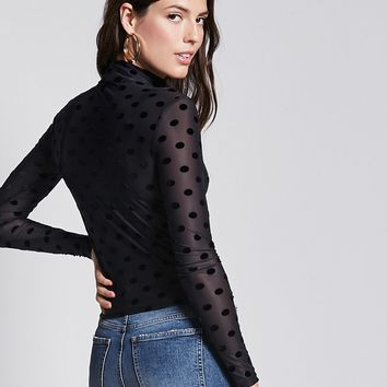 Velvet Polka-Dot Sheer Mesh Top