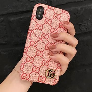 """Hot Sale """"GUCCI"""" Popular Women Men Letter Print Leather iPhone Mobile Phone Cover Case For iphone 6 6s 6plus 6s-plus 7 7plus iPhone8 iPhone X Grey I13168-1"""