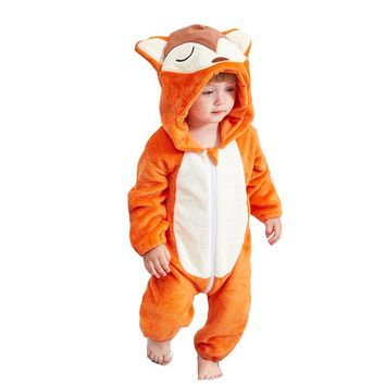 New Baby rompers fox boys girls clothes new born baby Cartoon pajamas warm winter animal Pajamas roupas de bebe recem nascido