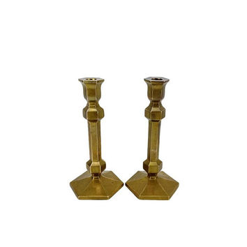 Solid Brass Candlesticks, Large Brass Candle Holders, Matching Set Taper CandleHolders Made in India Pair Wedding Centerpiece