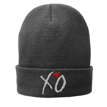XO the weeknd Embroidered Beanie Fleece-Lined Knit Cap