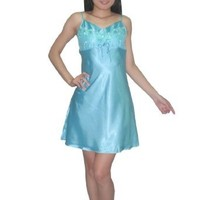 SILK COUTURE Womens Sexy Gorgeous Sleepwear Dress / Pajama Nightgown - Sky Blue