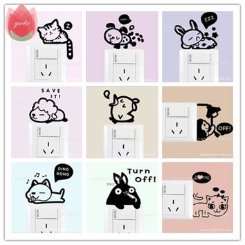 DIY Funny Cute Cat Dog Animal Switch Stickers Wall Stickers For Refrigerator Home Decoration Baby Room Bedroom Parlor Decoration