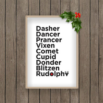 Reindeer christmas winter print pdf printable digital download snow snowflake Red holiday gift present