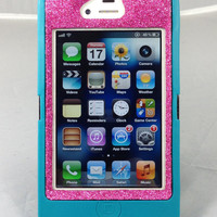 Cute Sparkly Bling Glitter iPhone 4/4S Custom Case Otterbox Defender Series for Apple iPhone 4/4S Teal/Raspberry